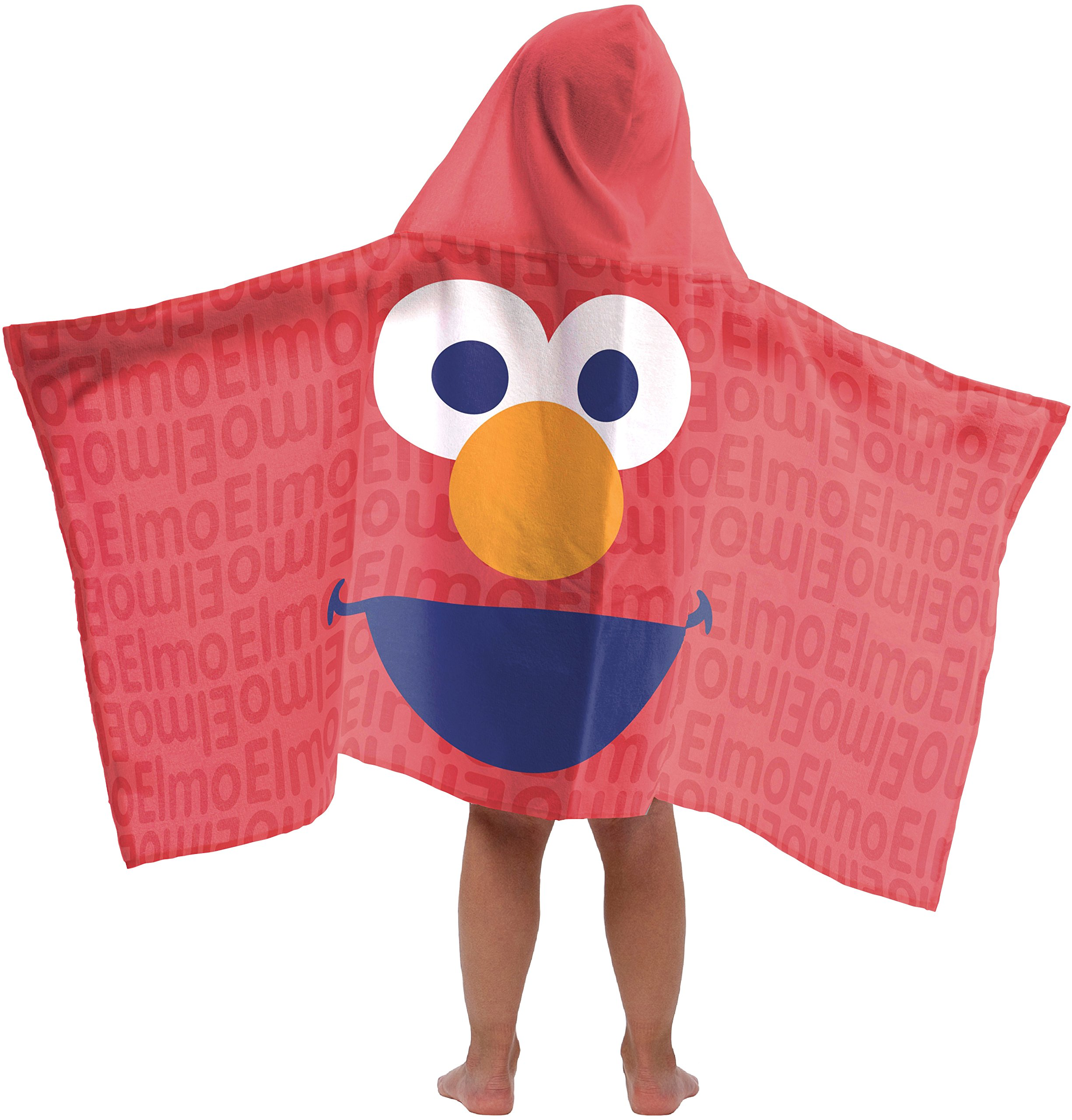 Jay Franco Sesame Street Super Soft & Absorbent Kids Hooded Bath/Pool/Beach Towel, Featuring Elmo - Fade Resistant Cotton Terry Towel, 22.5'' Inch x 51'' Inch (Official Sesame Street Product)