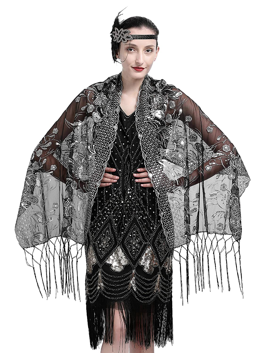 Zivyes 1920s Shawl Beaded Sequin Wraps Evening Cape Wedding Bridal Scarf Flapper Cover up ZSJ1008B