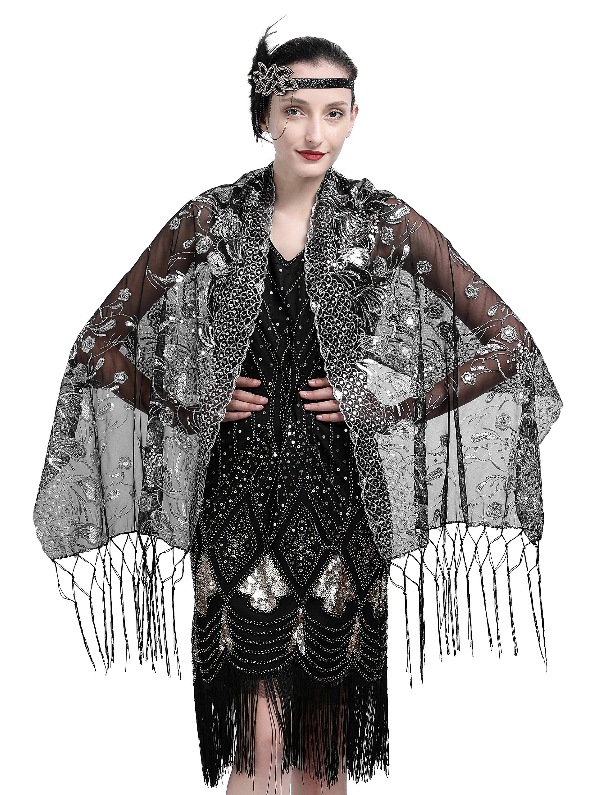 Zivyes 1920s Shawl Beaded Sequin Wraps Evening Cape Wedding Bridal Scarf Flapper Cover up