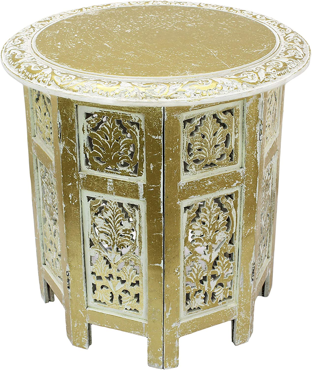 Cotton Craft Jaipur Solid Wood Handcrafted Carved Folding Accent Coffee Table - Antique Gold and White - 18 Inch Round Top x 18 Inch High -Intricate Detail with Hand Carving