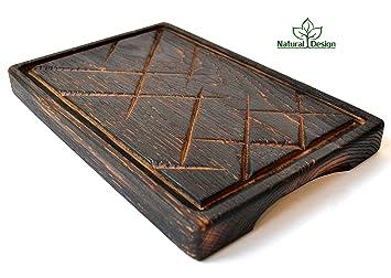 Barbacoa Plato para servir carne Junta 12 x 8 de roble macizo madera natural grueso de