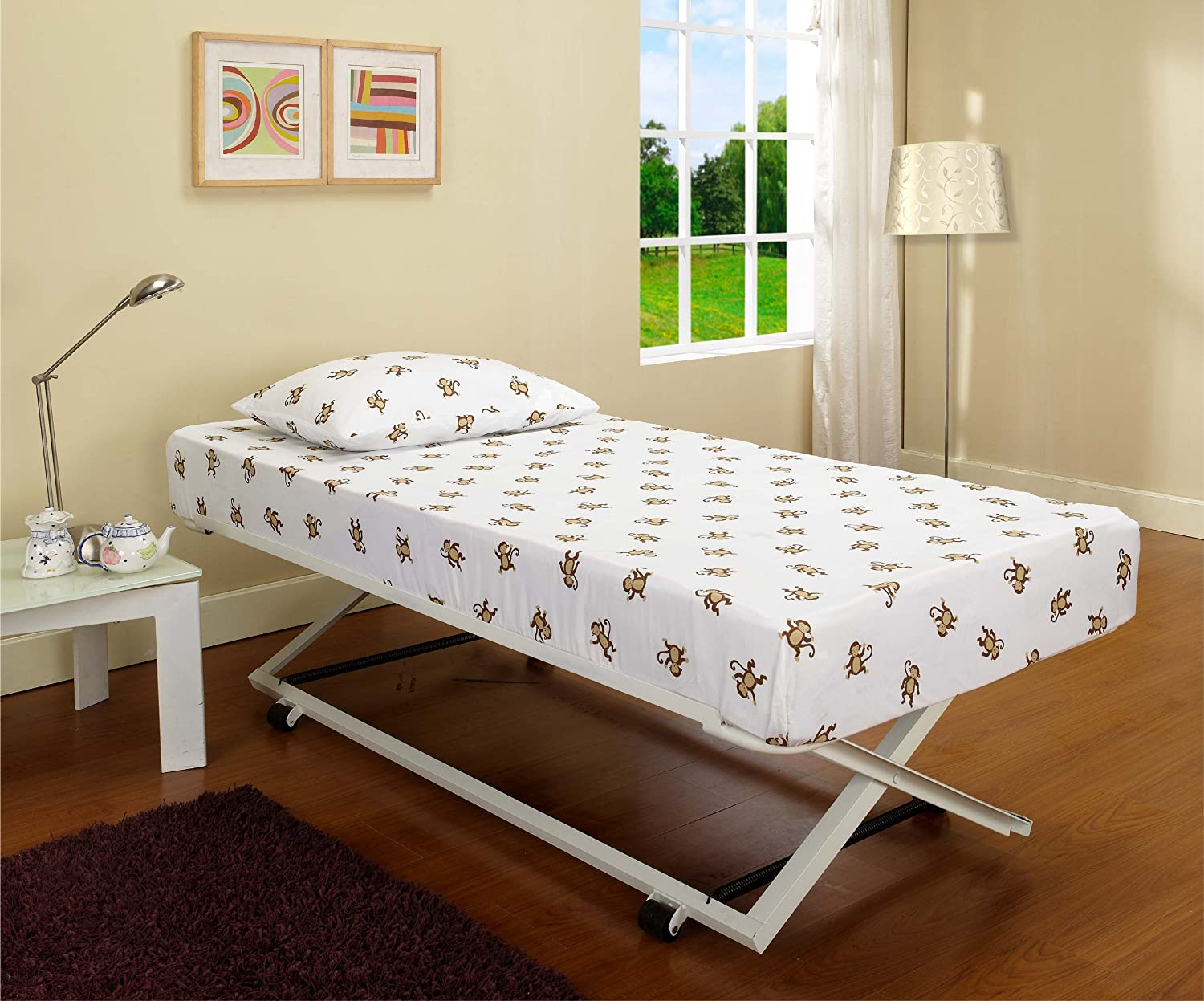 amazoncom white metal twin size pop up trundle for daybeds kitchen u0026 dining