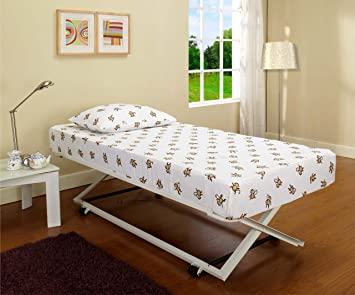 white metal twin size pop up trundle for daybeds