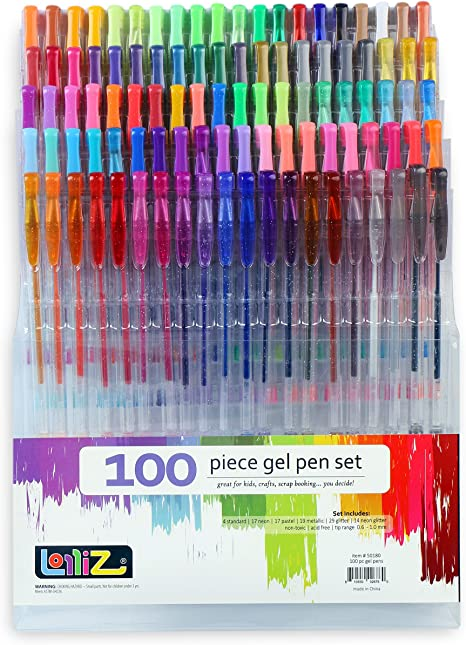 LolliZ Pack de 100 bolígrafos de gel, multicolores: Amazon.es: Juguetes y juegos