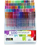LolliZ Gel Pens - 100 Unique Colors Gel Pen Tray Set. Ideal for Adult colouring book or kids drawing!