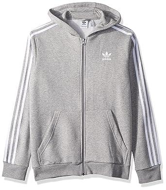 best service b8128 fa15d adidas Originals Boys  Little Trefoil Full-Zip Hoodie, Medium Grey Heather  White