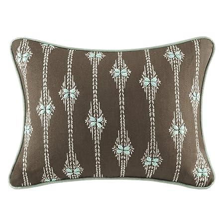 Harbor House Miramar Fashion Cotton Linen Throw Pillow, Traditional Damask Oblong Decorative Pillow, 12X16, Walnut