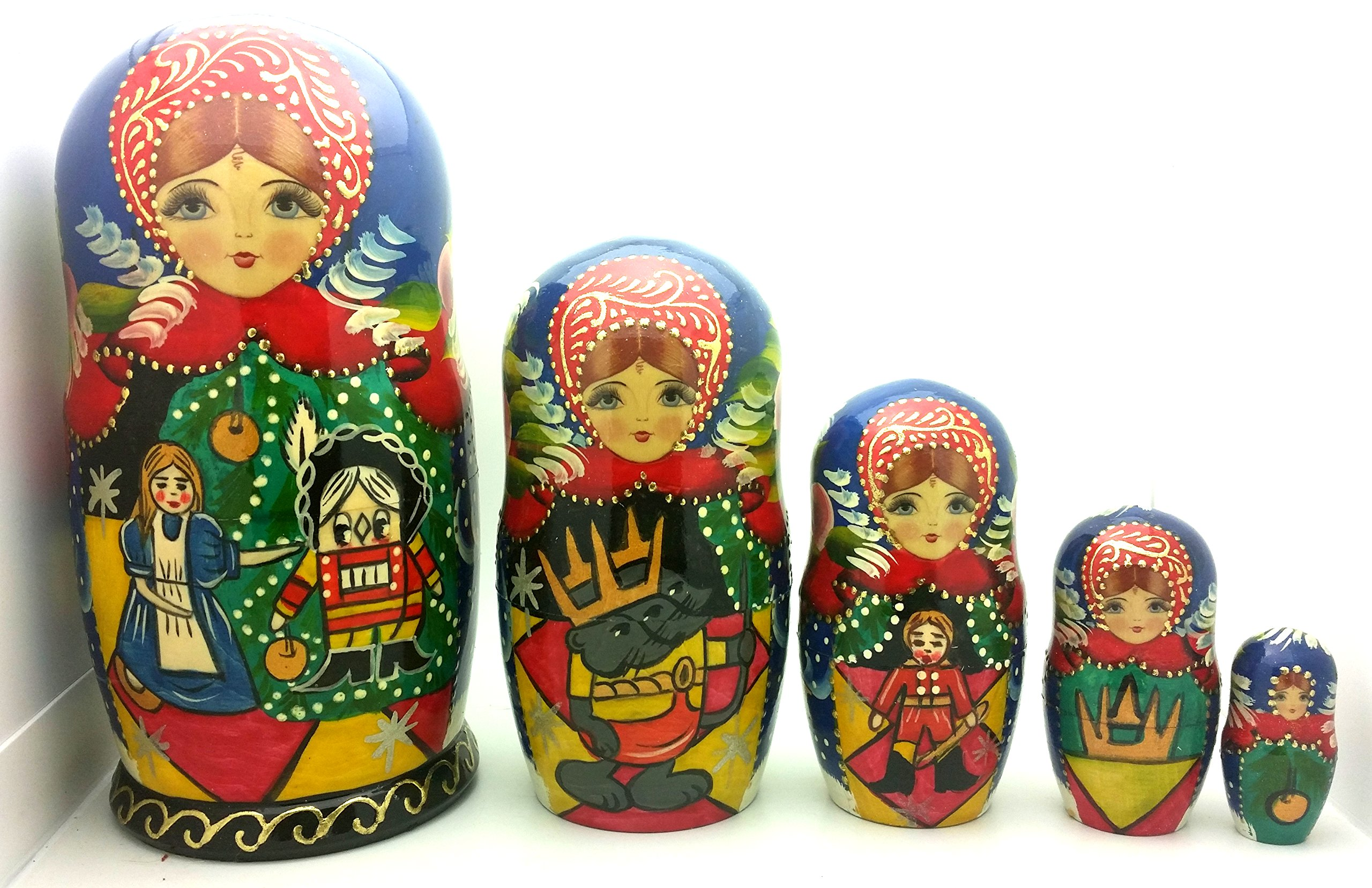 Nutcracker fairy tale Russian Hand Carved Hand Painted Nesting 5 piece DOLL Set 7'' tall / ballet by BuyRussianGifts (Image #2)