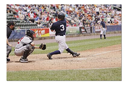 A batter swinging the bat