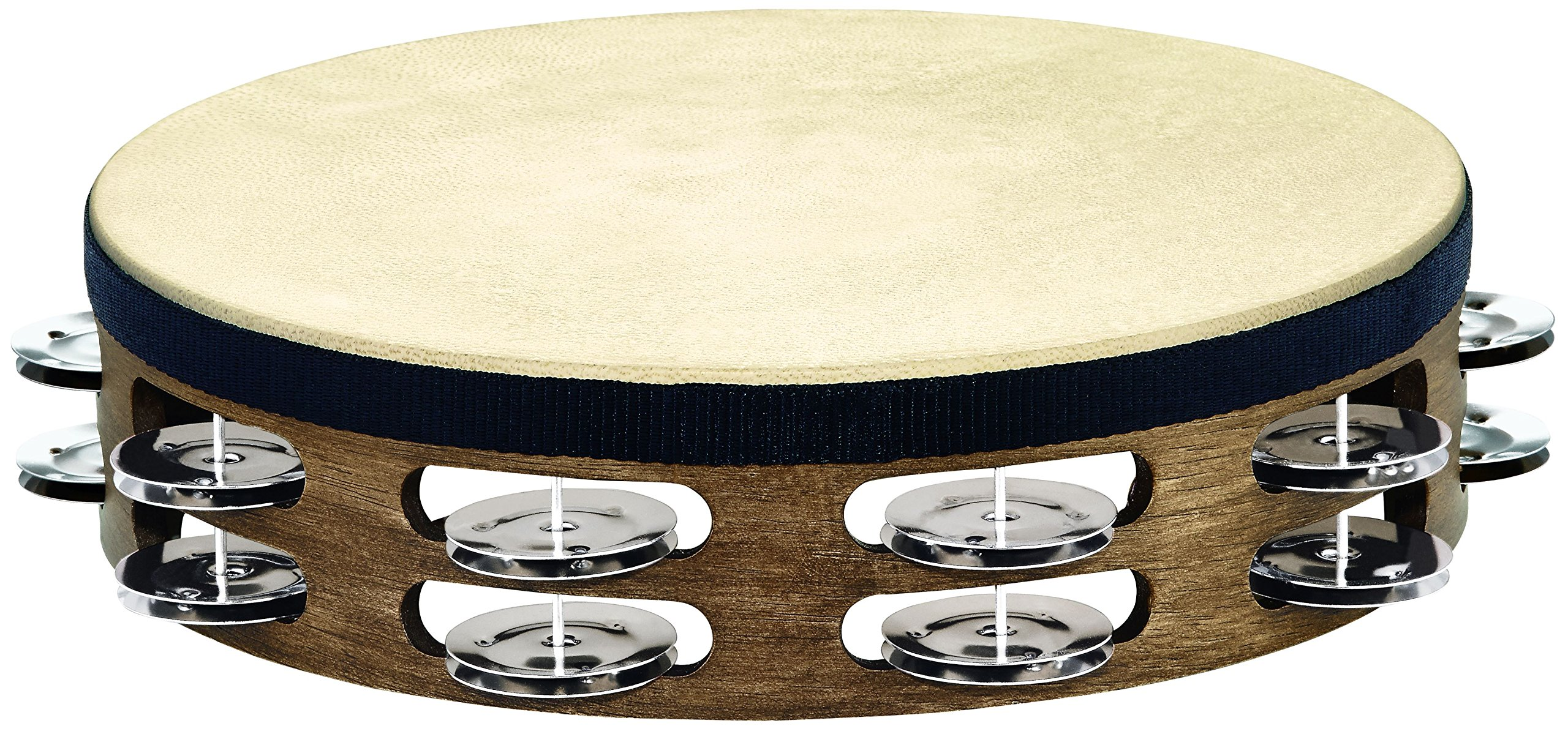 Meinl Percussion TAH2WB 10-Inch Headed Wood Tambourine with Double Row Stainless Steel Jingles, Walnut Brown Finish