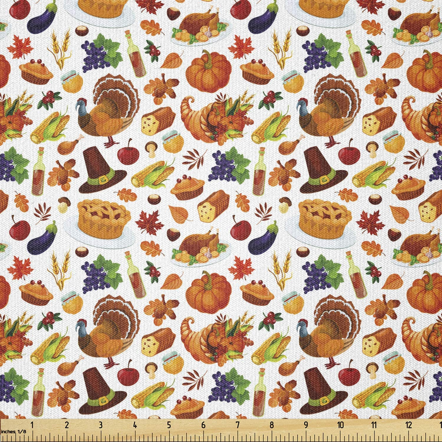 Lunarable Thanksgiving Fabric by The Yard, Food Abundance Autumn Harvest Traditional Celebration Dinner Pattern, Stretch Knit Fabric for Clothing Sewing and Arts Crafts, 1 Yard, Orange Brown