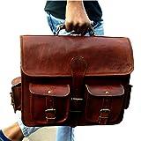 "IndianHandoArt 15"" Inch Leather Messenger Bag"