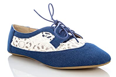 18c4f70df7 Amazon.com | Delias Women's Lace-up Wingtip Oxford Ballet Flat Shoe in  Chambray Size: 10 | Oxfords