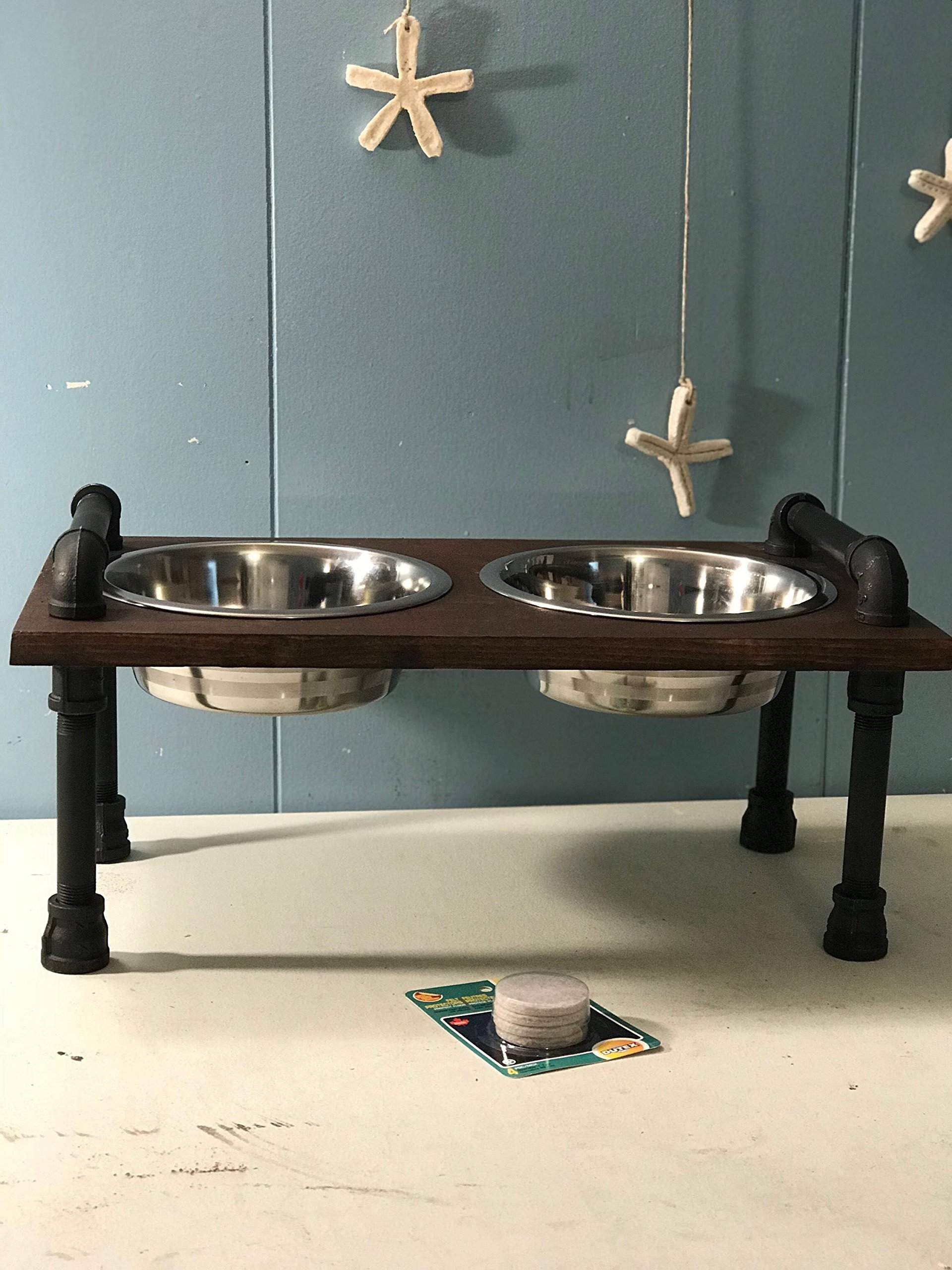 Raised Dog Bowl Stand with industrial style handles. …