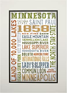 product image for Minnesota - Rustic Typography (11x14 Double-Matted Art Print, Wall Decor Ready to Frame)