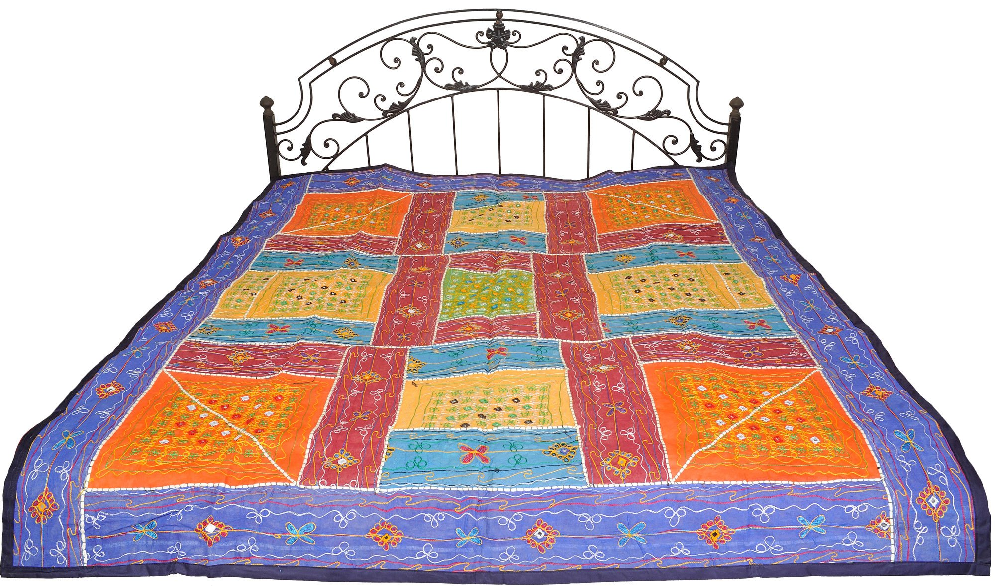 Multicolor Bedspread from Kutch with Embroidered Patches and Mirrors - Pure Cotton