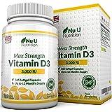 Vitamin D3 3,000 IU 365 Softgels (Full Year Supply) Triple Strength Vitamin D3 Supplement, High Absorption Cholecalciferol, Gluten & Dairy Free by Nu U Nutrition