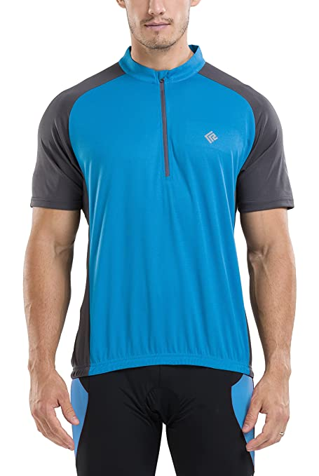 KORAMAN Men s Reflective Short Sleeve Cycling Jersey Quick-Dry Breathable  Biking Shirt Blue S 8411752c8
