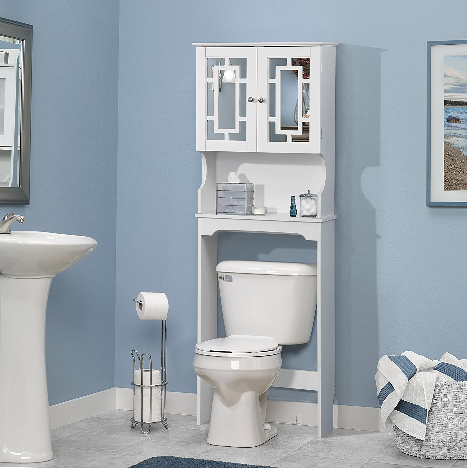 Home Source Industries Bathroom Space Saver with Shelf and 2-Door Mirrored Cabinet, White