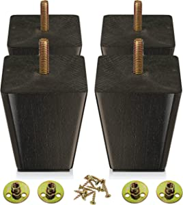 Wood Furniture Legs 3 inch - Sofa Legs Set of 4 Square Couch Legs - Espresso Tapered Feet Replacement for Legs for Furniture or DIY Projects- Sofa Legs, Chair, Ottoman, Stool, Coffee Table, Bed, Etc.