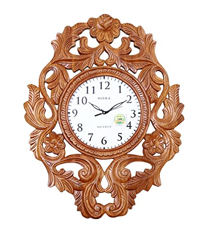 1ee7029f0 Buy Hand Crafted 100% Genuine Kerala Teak Wood Clock Online at Low Prices  in India - Amazon.in