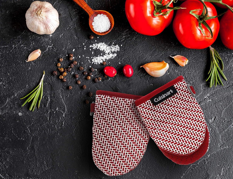 Cuisinart Lot de 2 Mini Gants de Cuisine en Silicone r/ésistant /à la Chaleur Poign/ée antid/érapante Boucle de Suspension 14 x 19 cm Id/éal pour la Manipulation de Plats Chauds Motif Briques Rouge