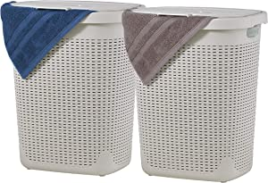 Superio Wicker Laundry Hamper with Lid 50 Liter Bone Ivory (2 Pack) Laundry Basket with Cutout Handles Durable Bin - Easy Carry Dirty Cloths in Washroom Bathroom