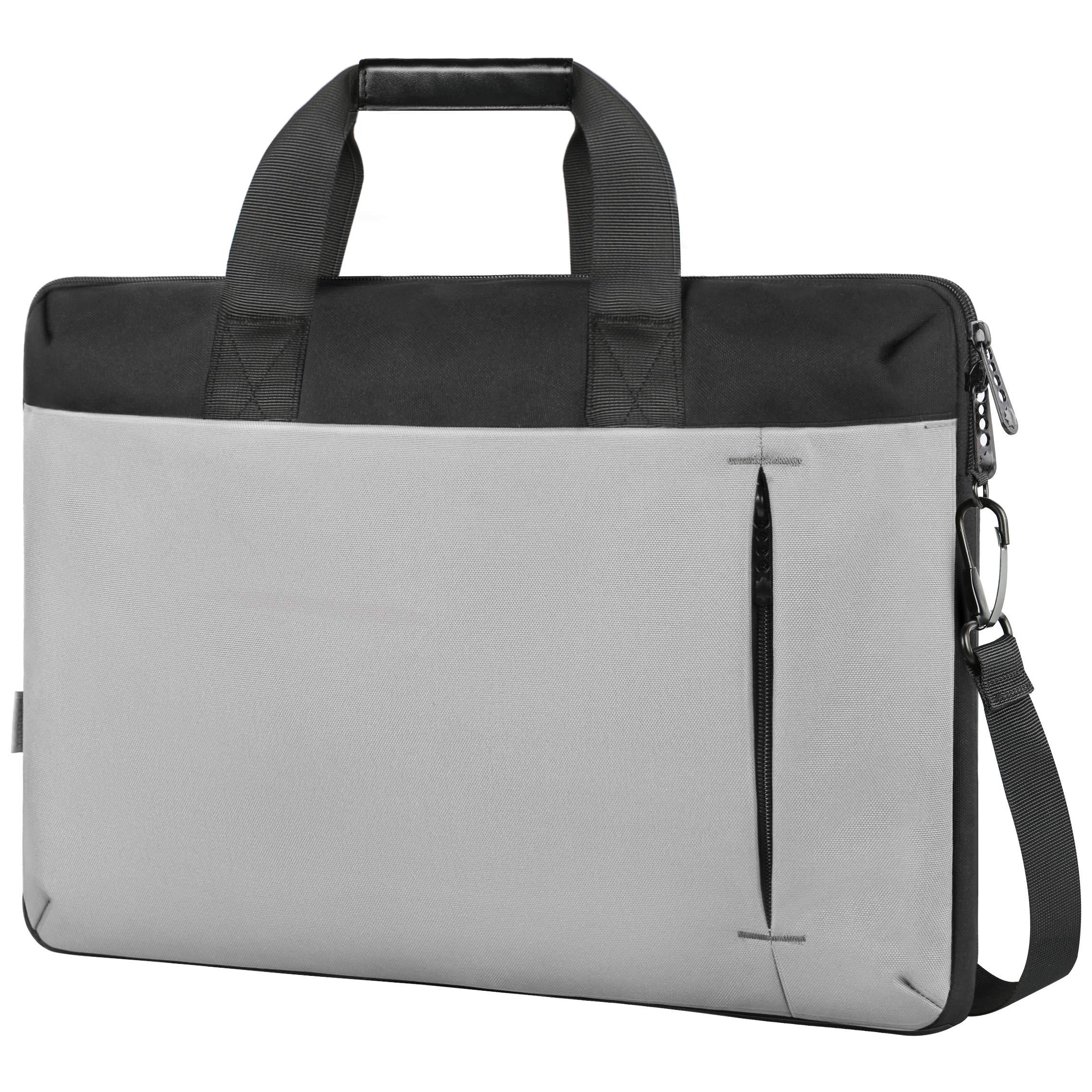 Slim Laptop Bag,17.3 Inch Laptop Carrying Case Compatible for HP Computer,Large Briefcase Sleeve for Women Men,Waterproof Messenger Shoulder Bag Compatible for 17 15.6 in Dell Lenovo Notebook,Gray