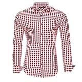 KAYHAN Herren Hemd Trachtenhemd Slim Fit Bügelleicht, Super Modern super Qualität Kariert Doppelfarbig auch fürs Oktoberfest geeignet
