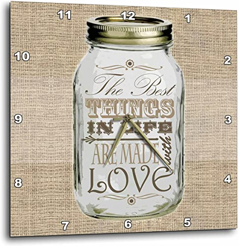3dRose 3D Rose Mason Jar on Burlap Print Brown-The Best Things in Life are Made with Love-Gifts for The Cook-Wall Clock, 13-inch DPP_128507_2