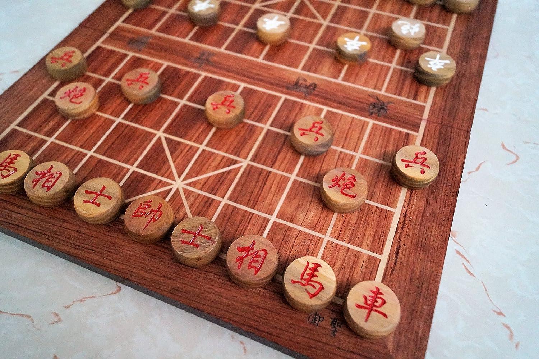 """Échecs Chinois, Xiangqi, 13,8 """"MDF Board, 1,1"""" Pièces d'échecs en bois de santal vert"""