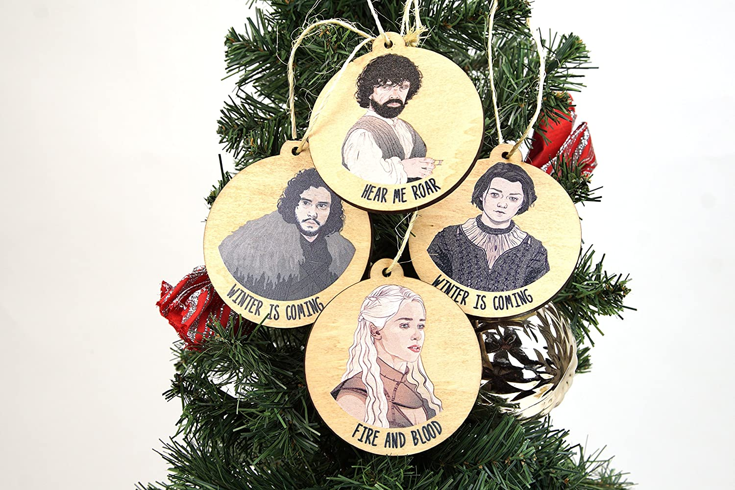 Amazon Com Set Of 4 Wooden Game Of Thrones Inspired Christmas Ornaments Made In The Usa Home Kitchen