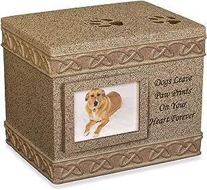 AngelStar Comfy Hour 5-Inch Pet Urn for Dog, Dark Brown, Porcelain