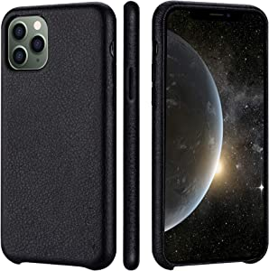 iPhone 11 pro Case Rejazz Anti-Scratch Iphone11 pro Cover Genuine Leather Apple iPhone Cases for iPhone 11 pro (5.8 Inch) (Black)