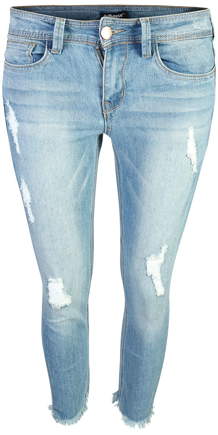dollhouse Women's Distressed Stretch Frayed Hem Skinny Capri Jeans