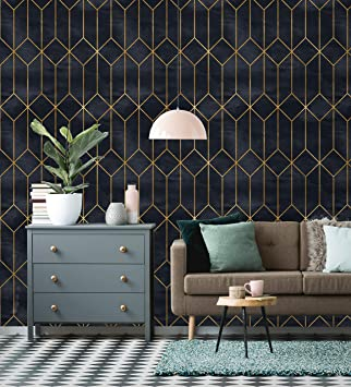 Art deco peel /'n stick wallpaper vintage geometric pattern temporary wallpaper removable wallpaper self adhesive wallpaper wall mural