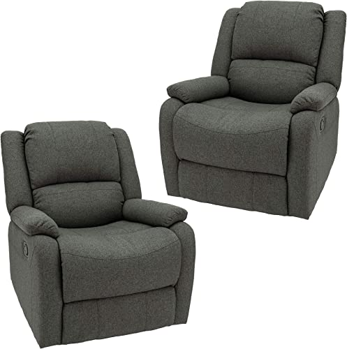 RecPro Charles Collection 30 Swivel Glider RV Recliner RV Living Room Slideout Chair RV Furniture Glider Chair Oatmeal or Fossil Cloth 2 Pack, Fossil