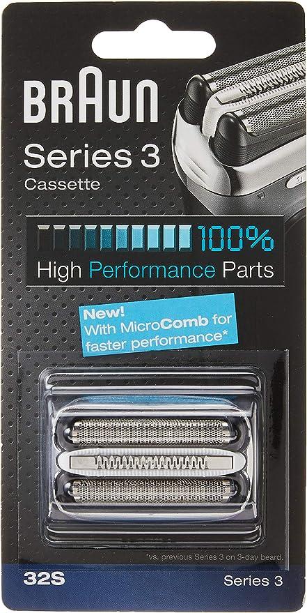 Braun Series 3 32S - Cabezal de Recambio para Afeitadora Eléctrica Hombre, Plata (El embalaje puede variar): Amazon ...