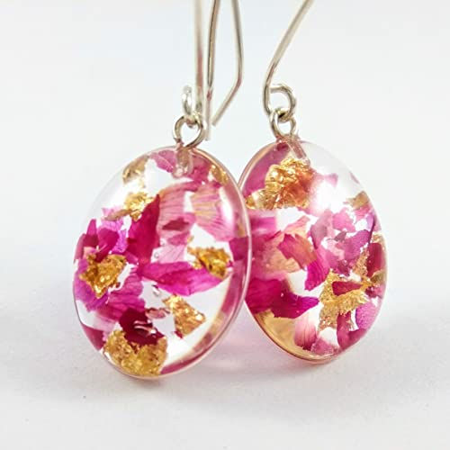 26b44e04e8ca27 Sterling Silver Pink Real Rose Petals Flower Earrings - Resin Botanical  Jewelry: Amazon.ca: Handmade