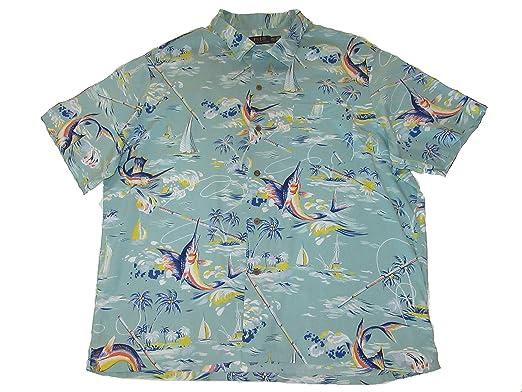 48d9585f46ef9 ... official ralph lauren polo mens button down short sleeve marlin hawaiian  camp shirt green 927da 0f8ac