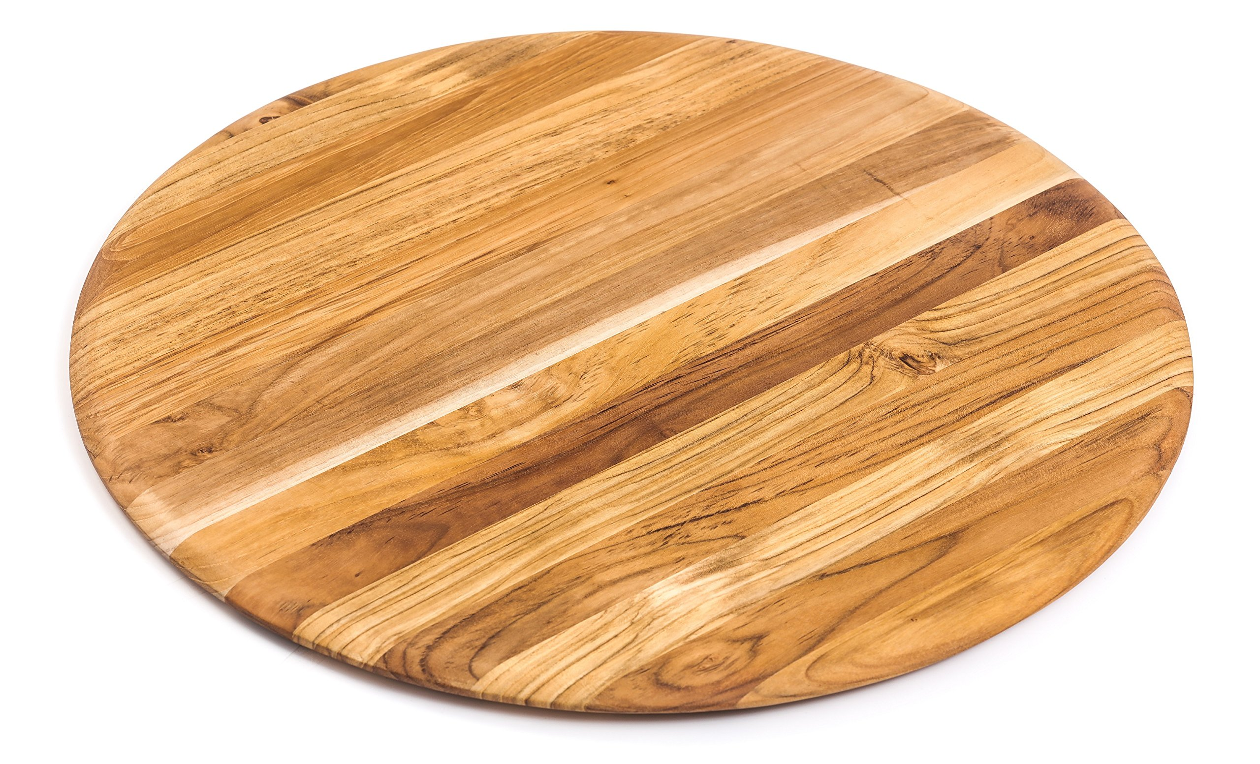 Teakhaus Cutting Board - Large Round Teak Woods Carving Board - Slim and Lightweight (18x18)
