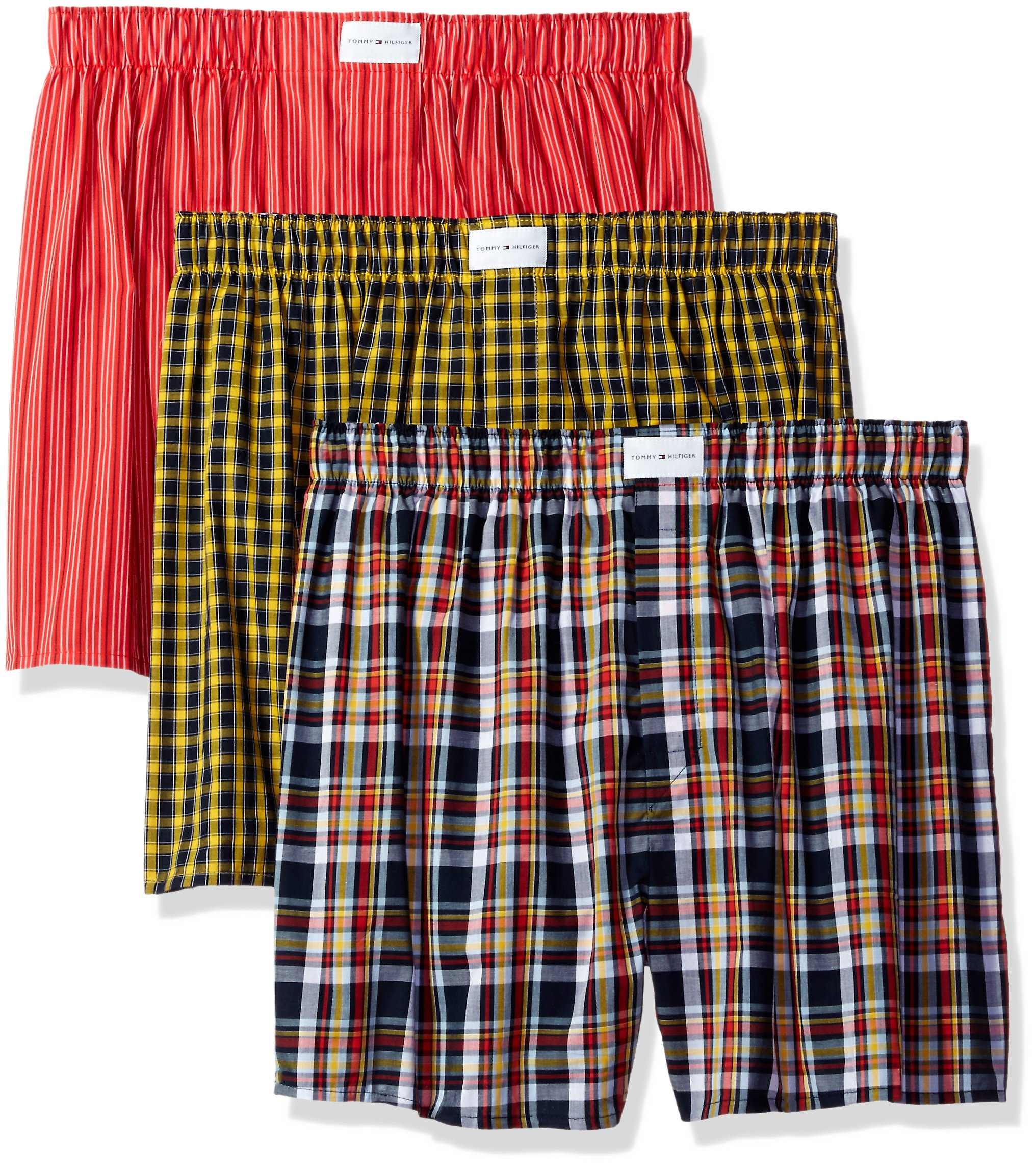 Tommy Hilfiger Men's Underwear 3 Pack Cotton Classics Woven Boxers, Orange/Blue Plaid/Orange Stripe/Yellow Plaid, Large