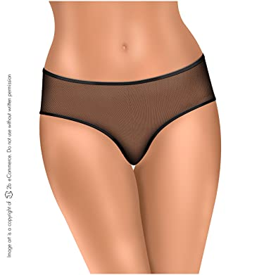 Amawi 1103 Sexy Lace Thong Panties for Women, Black, Medium