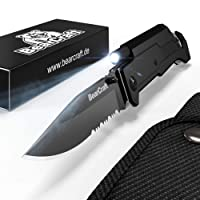 BearCraft Klappmesser | Outdoor Survival Taschenmesser mit Wellenschliff | Rettungsmesser mit Mini-LED Taschenlampe Feuerstein Glasbrecher und Gurtschneider