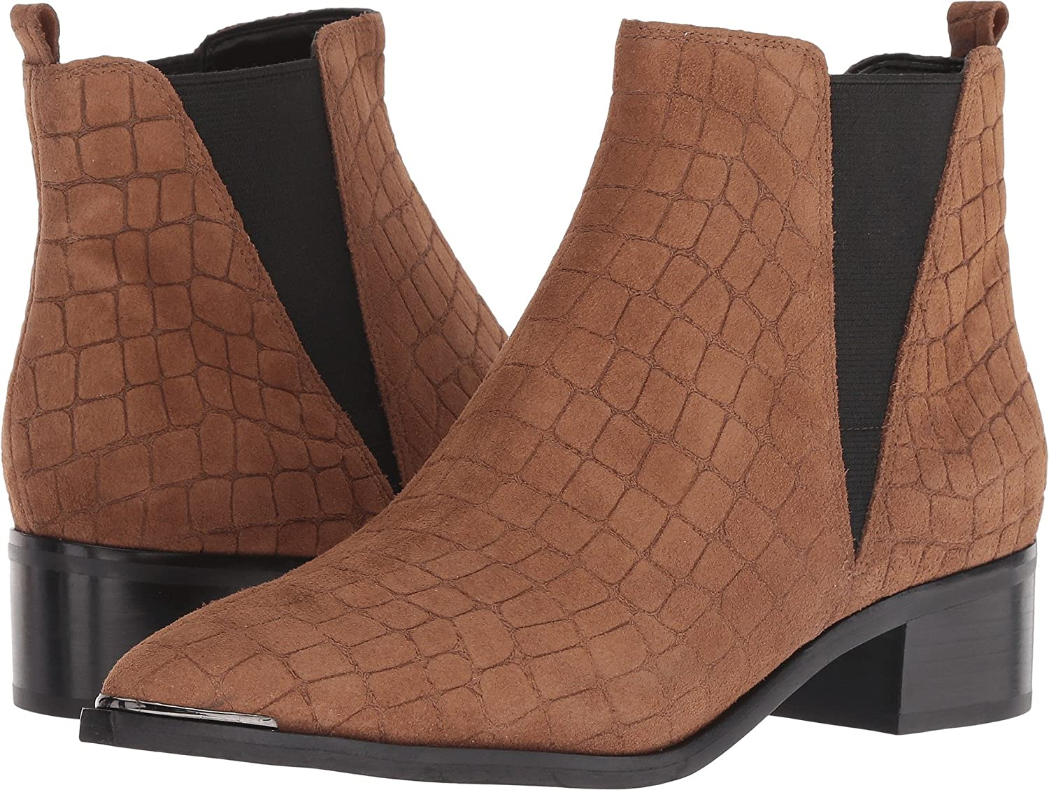 Cognac Croc Suede Marc Fisher LTD Women's Yale Ankle Bootie