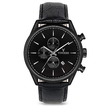 04be4f7bf47 Vincero Montre bracelet de luxe Vincero Chrono S pour homme - Noir mat avec  bracelet en