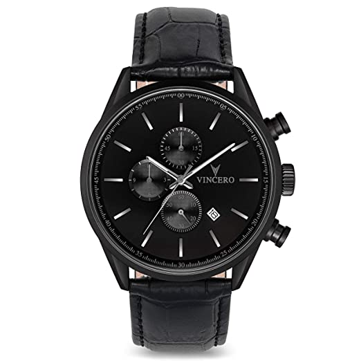 Reloj de Pulsera Chrono S de Lujo para Caballeros Vincero - Negro Mate con Correa de Cuero Negro - Reloj Cronógrafo de 43mm - Movimiento de Cuarzo Japonés: ...