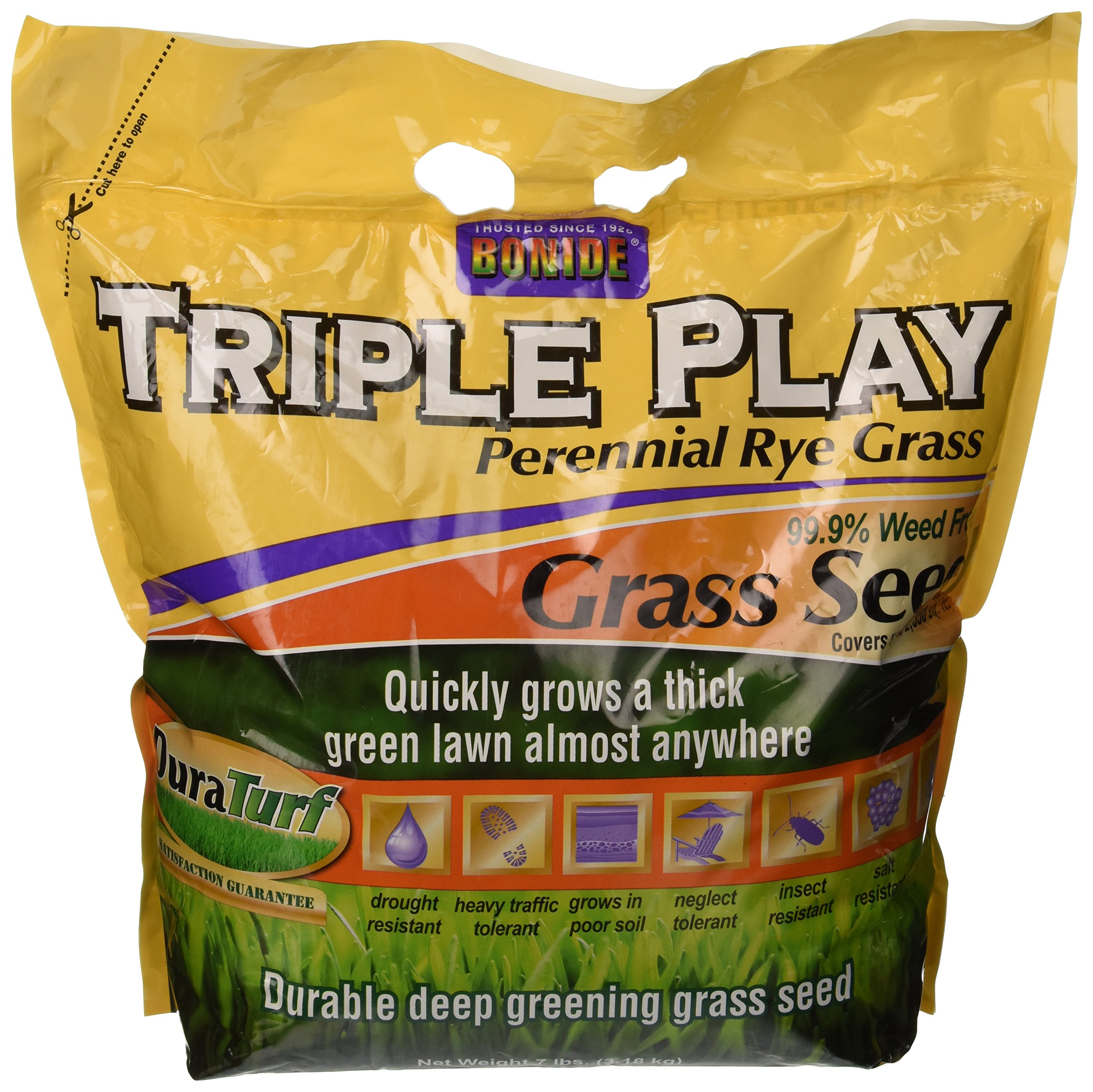 Bonide 60274 Triple Play Rye Grass Seed, 7-Pound