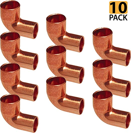 "1//2/"" C x 1//2/"" Ftg 90-Degree Copper Street Elbows 25"