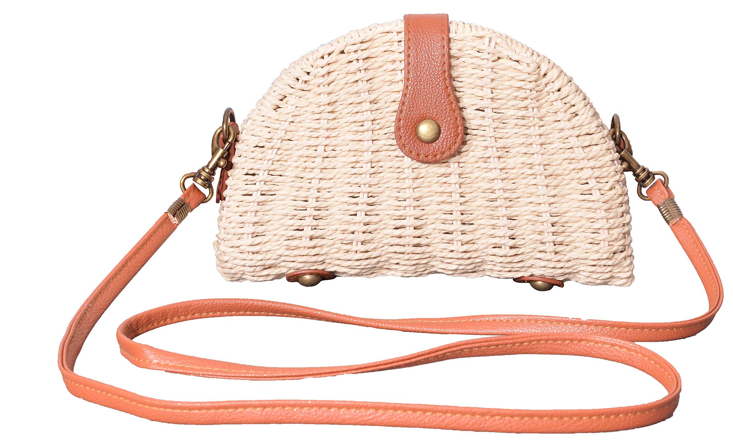 Outrip Straw Crossbody Bag Small Shoulder Bag Cell Phone Purse Vacation Handbag (Beige)